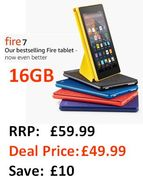 """16GB Fire 7 Tablet with Alexa, 7"""" Display - save £10"""