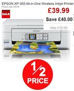 HALF PRICE! EPSON XP-355 All-in-One Wireless Inkjet Printer + FREE DELIVERY