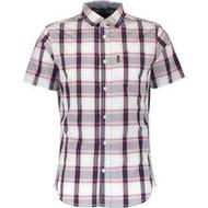 DRIFT KING White & Red Checked Short Sleeve Shirt
