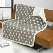 RAPPORT Stars Fleece Blanket, Grey