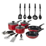 Morphy Richards 5-Piece Non-Stick Pan Set with 9 Tools - Red