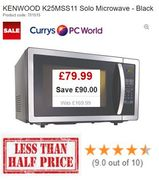 BETTER THAN HALF PRICE Cave £90: KENWOOD K25MSS11 Solo Microwave 25L