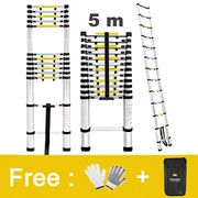 Finether 5m Portable Aluminium Telescoping Ladder with Finger Protection Spacers
