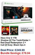 Xbox One S 1TB Shadow of the Tomb Raider +Red Dead Redemption 2 +COD Black Ops 4