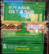 Subway - Buy One Get One Free on Saturday!