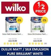 HALF PRICE Dulux Pure Brilliant White Emulsion Paint