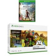 Xbox One S Minecraft Holiday 1Tb Console Bundle with Assassins Creed: Odyssey