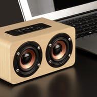 W5 Red Wood Grain Speaker Dual Subwoofer Super Bass Sound Loudspeaker