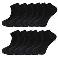 Mens Plain Trainer Socks Mens White Black 12 Pack Dozen Multipack Ankle Socks