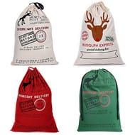 Littleducking 4pcs Vintage Hessian Christmas Santa Sack Amazon Free Delivery