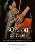 Up to 30% off All Bags