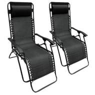 Set of 2 Zero Gravity Reclining Garden Sun Lounger Chairs