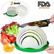 Salad Cutter Bowl, ESEOE 8 Inch Fruit Vegetable Chopper, Dual Use Bowl