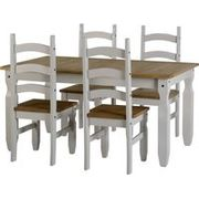 Corona 5' Dining Set in Grey/Distressed Waxed Pine with 4 Chairs