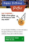 Free Glass of Prosecco with Any Main at Pizza Express