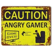 Caution Angry Gamer Metal Aluminium Vintage Poster Sign