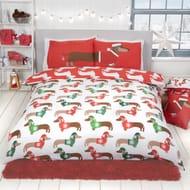 Christmas Sausage Dog Animal Print Reversible Duvet Cover