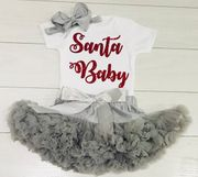 My First Xmas Santa Baby Frilly Tutu Skirt Vest & Headband