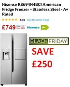 £250 OFF! Hisense RS694N4BC1 American Fridge Freezer Stainless Steel - A+ Rated