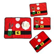 Christmas Santa Placemat Table Runner Setting Table Mat with Cutlery Holder Bags