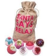 Bomb Cosmetics Santa Says Relax Handmade Hessian Bath Blaster Gift Pack
