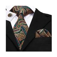 Unusual Paisley Silk Tie, Pocket Square & Cufflinks Set