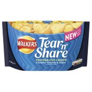 Walkers Tear and Share Cheese and Onion Thicker Cut Crisps Case, 6 X 150 G