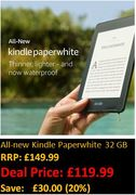 SAVE £30. All-New Kindle Paperwhite - Now Waterproof - 32 GB