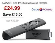 SAVE £15 - AMAZON Fire TV Stick with Alexa Remote