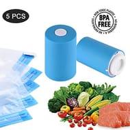 Mini Vacuum Sealer Automatic Cordless Kit with 5 Reusable Zipper Bags,