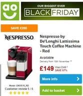SAVE £200 Nespresso by De'Longhi Lattissima Touch Coffee Machine - Red
