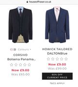 Mens Suit jackets from £9 at House of Fraser!
