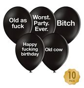 Rude Funny Birthday Balloons - Pack of 10