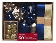 WHSmith Blue & Gold 30 Piece Luxury Christmas Gift Accessories Pack