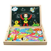 Magnetic Jigsaw Puzzle Double-Sided Drawing Board Game Wooden Blackboard Toys