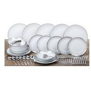 WATERSIDE Silver Sparkle 56 Piece Dinner and Cutlery Set