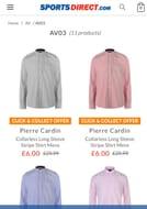 Sports Direct Sale-Pierre Cardin Collarless Long Sleeve Stripe Shirt Mens
