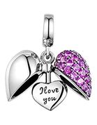 I Love You Silver Heart Crystal Charm Sterling Silver 925 Women's Charm Bracelet