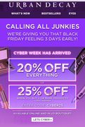 Urban Decay Black Friday- 20% off Everything/25% off When Buying 2 or More Items