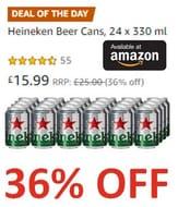 Cheers AMAZON! GET £9 off TODAY ! 24 Heineken Beer Cans (330 Ml)