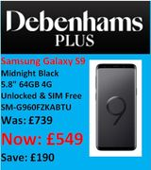 SAVE £190 - Samsung Galaxy S9, 64GB - Now £549