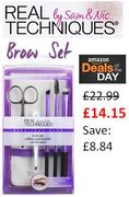 Real Techniques Brow Make-up Brush Set (Includes Tweezers) **4.8 STARS**