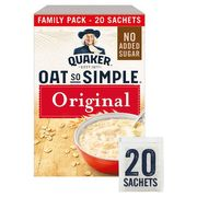 HALF PRICE Quaker Oat so Simple Original Porridge Sachet 20X27g