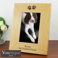 Personalised Oak Finish Paw Prints Photo Frame (4 X 6)