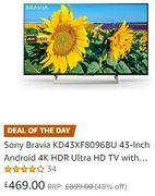 ALMOST HALF PRICE: Sony Bravia 43-Inch Android 4K HDR Ultra HD TV KD43XF8096BU