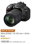 SAVE £230 on Black Friday: Nikon D5300 + 18-105 Mm + VR Kit