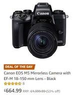 Half Price Black Friday Deal! Canon EOS M5 Mirrorless Camera EF-M 18-150 mm Lens