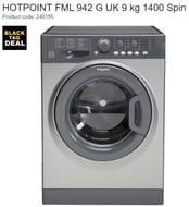 SAVE £110. HOTPOINT 9 Kg 1400 Spin Washing Machine - Graphite (FML 942 G UK)