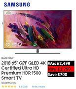 "SAVE £700. SAMSUNG 2018 65"" Q7F QLED 4K Ultra HD Premium HDR 1500 Smart TV"