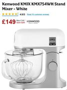 SAVE £200 Cheapest Price Kenwood KMIX KMX754WH Stand Mixer